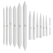 Outus 12 Pieces Assorted Sized Blending Stumps and Tortillions for Drawing and Sketching with 2 Pieces White Eraser