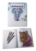 Animals Colouring Book for Adults and Kids - Elephants, Cats, Tigers, Lions, Giraffes, Dogs, Horses and more