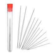 BIHRTC 12 Pcs 4 Size Large Eye Beading Needles with Needle Bottle Easy Thread Jewellery Craft DIY Tool