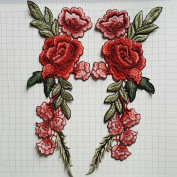 C-Pioneer 2pc DIY Rose Flower Embroidery Applique Patches Sew on Clothing Accessories