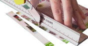 New design 30 cm (12 Inch) Metal Craft Safety Ruler,Light Weight with a Folding Safety Guard.Use with Rotary Cutter,Stanley or Xacto.For Paper,Card,Leather,Fabric,Quilting,Scrap booking,Art,Office.