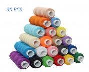 CiaraQ 30 Spool Sewing Thread 100% Cotton 250 Yard Each Assorted Spool Threads Sewing Thread Bobbins Of Colourful Assorted Thread Spool for Embroidery Machine Use