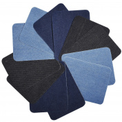 eBoot 12 Pieces Iron On Patches Iron On Denim Cotton Patches Iron-On Repair Kit, 13cm by 9.5cm
