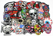 24pcs/lot Mixed 5-12cm Iron-on Embroidered Patches skull style Appliques