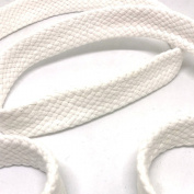 Anrox Supply Co. 1.9cm White Braided Cotton Flat Cord Drawstring Drawcord Handles Lace Trim Thick Heavy Duty 3YDS