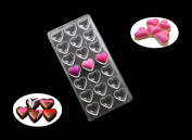 (21 Cavity) Heart Clear Polycarbonate Chocolate Mould Jelly Candy Making Mould cake decorating mould ice Tray mould