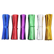 AIRSUNNY 600 pcs 10cm Metallic Twist Ties - 6 Colours red, blue, green, gold, silver and pink
