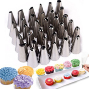 BestWare Icing Piping Nozzles Set 35 Steel Nozzles + Silicone BAG + Coupler Cake Decorating Icing Piping set Bag