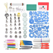 AK ART KITCHENWARE Gum Paste and Icing Leaf and Flower Tool Kit 75 Flower & Foliage Cutters 26 Icing Piping Tool 1 Veining Board 1 Foam Pad 1 Rolling Pin 10 Brushes 4 Frilling Sticks 8 Modelling Tool