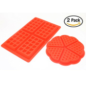 Silicone Waffle Mould, Baking Mould Cooking Tools Kitchen Accessories, Red (4 & 5 slice) - IDS