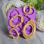 SK Frame Sugarcraft Oval Mirror Frames Silicone Mould Baking Tools