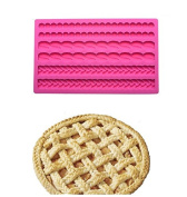 Joinor Pie Crust Silicone Fondant Mat, Pizze Top Decoration Cake Decor Chocolate Candy Mould Size 20cm x 13cm , Show Up Your Baking Now