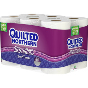 Quilted Northern Ultra Plush Bath Tissue, Soft and Absorbent, Flushable and Septic Safe, 3-ply White, 12 Jumbo Rolls