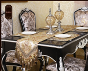 Modern Luxury Jacquard Fabric Floral Table Runners And Dresser Scarves With Multi-tassels, Customer Order
