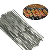 GossipBoy Stainless Steel Metal Shish kebob Skewers Barbecue Skewers BBQ Meat Fish Vegetable Sticks - Good Bargain to Make Delicious Kebob