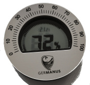 GERMANUS Calibratable Digital Humidor Hygrometer, Round