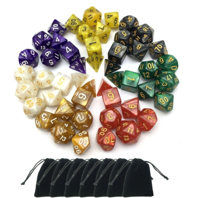 SmartDealsPro 7 x 7-Die Series 7 Colours Symphony Dungeons and Dragons DND RPG MTG Table Games Dice with Free Pouches