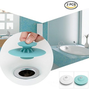2PCS IDS Creative Silicone Tub Drain Stopper/Strainer/Hair Catcher,2 in 1 Stop & Filter