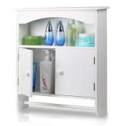 Topeakmart White Wood Bathroom Wall Mount Cabinet Toilet Medicine Storage Organiser Bar
