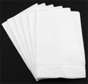 6 Pack - CleverDelights White Linen Hemstitched Hand Towels - 36cm x 60cm - 100% Linen - Tea Towels