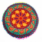 Franterd Floor Pillows cases, Round Pillowcases, Indian Floor Cushions, Decorative Pillows cases, Outdoor Cushion Cover, Boho Pillowcases