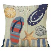 Famibay Decorative Pillow Cover Ocean Park Theme Square Cotton Linen Throw Pillow Case Cushion Cover 18 x 18