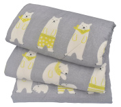 J-pinno Boys & Girls Cute Bear Cotton Muslin Quilt Comforter Bedding Coverlet Twin, 100% Long Staple Cotton Filling, Lightweight Throw Blanket for Kid's Bedroom