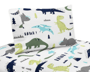 4 Piece Queen Sheet Set for Blue and Green Modern Dinosaur Bedding Collection