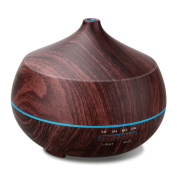 AROVA Aromatherapy Essential Oil Diffuser , 400ML , with Aroma Cool Mist Humidifier , Adjustable Mist Mode , Auto Shut-off , 7 Colour Changing LED Light for office home baby - Black Wood Grain