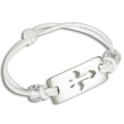 First Communion White Stretch Bracelet with Cross