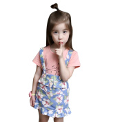 Wensltd Toddler Kids Baby Girls Summer Outfit Clothes T-shirt Tops+Floral Skirt 2pcs Set