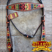HILASON WESTERN LEATHER HORSE TACK BRIDLE HEADSTALL BREAST COLLAR AZTEC