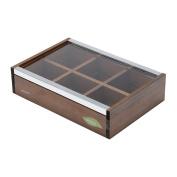 WOODART Wooden Tea Box- Tea Bag Organiser, Tea Chest, Tea Storage
