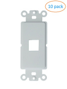 Kenuco White Decora Wall Plate Keystone Insert | 1 Port | 10 Pack