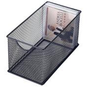 Black Mesh Metal CD Holder Box Organiser, Stackable Open Storage Bin