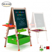 Deluxe Easel for Kids,Gimilife Folding Wooden Art Easel with Chalkboard, Whiteboard, and Storage Bins or Tray, Standing Easel with Magnetic Letters for Early Education
