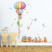 Decowall DM-1606P1406A Animal Train & Hot Air Balloon Height Chart Peel and Stick Nursery Kids Wall Stickers Decals
