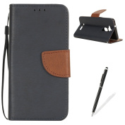 Asus Zenfone 3 Max ZC520TL Case,MAGQI Premium Soft PU Leather Slim Fit Notebook Wallet Case Luxury Retro Two-Colour Design [Kickstand] Stand Function Card Slots & Holder Magnetic Flip Protective Skin Full Body Protection Cover with Detachable Hand Stra ..