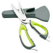 6 in 1 Multi-function Stainless Steel Kitchen Scissors Knife Heavy Duty with Magnetic Sheath Attach on Fridge Kitchen Supplies
