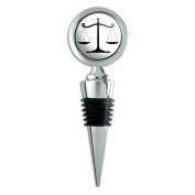 Balanced Scales of Justice Symbol Legal Lawyer B & W Wine Bottle Stopper