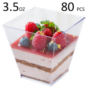 Tosnail 100ml Square Clear Plastic Mini Dessert Tumbler Cups - 80 Pack