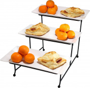 Virtual Elements White 3 Tier Rectangular Serving Tray, Food Server Platter Rack