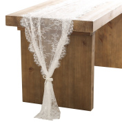 Ling's moment 80cm x 300cm White Lace Table Runner/Overlay, Spring & Summer Rustic Chic Wedding Reception Table Runner, Boho Party Decoration, Bridal Shower Decor