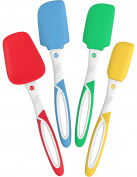 Vremi 4 Piece Spatula Set - Colourful Silicone Rubber Baking Spatulas Nonstick BPA Free Dishwasher Safe - Turner Spatula for Icing Brownie or Cake Frosting Decorating - Heat Resistant up to 450°F