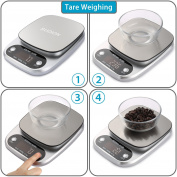 Digital Kitchen Scale, Sudion Food Scale Multifunction Weight Scale Electronic Baking & Cooking Scale with LCD Display and Tare Function, Stainless Steel, 22lb 10kg, Silver