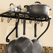 Kitchen Wall Mount Pot Pan Bookshelf Rack Cookware Rack with 10 Hooks