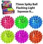 HKM Flashing Spiky 7.5cm Ball Sensory Toy - LIGHT & SOUND Fiddle Fidget Stress Sensory Autism ADHD