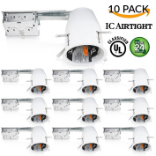 Sunco Lighting 10 PACK - 10cm inch Remodel LED Can Air Tight IC Housing LED Recessed Lighting- UL Listed and Title 24 Certified