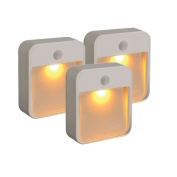 Mr. Beams MB720A Sleep Friendly Battery-Powered Motion-Sensing LED Stick-Anywhere Nightlight with Amber Colour Light (3-Pack), White