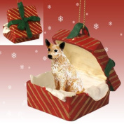 RED HEELER AUSTRALIAN CATTLE Dog sits in a RED Gift Box Christmas Ornament New RGBD87A